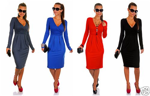 Sexy Long Sleeve Stretchy Jersey Dress ♥ Sizes 8-16 ♥ MADE IN EUROPE ♥ ~285~ | Amazing Shoes UK