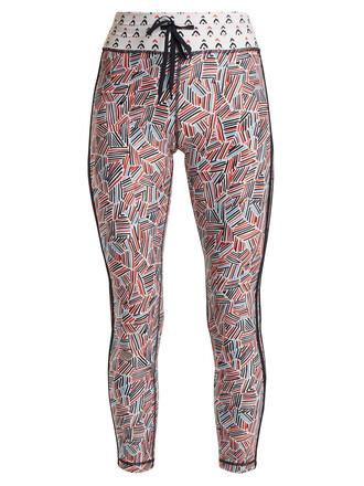 leggings fire print white pants