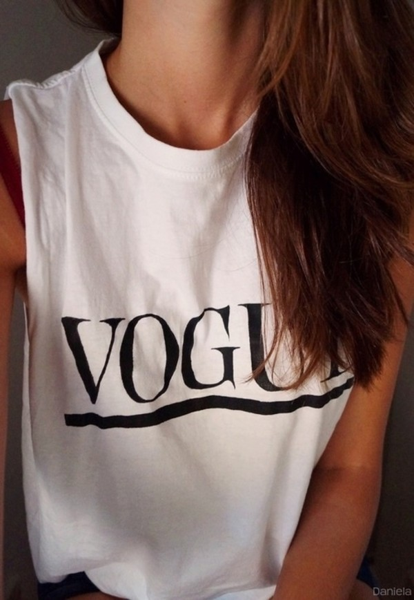 tank top vogue black white girl indian vintage tank top top t-shirt t-shirt shirt summer printed t-shirt pretty girly feminine magazine vogue magazine vogue crop tops women blouse vouge t-shirt vogue t shirt white t-shirt vogue top white top low sided