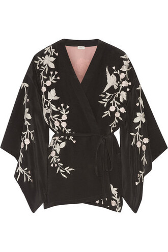 jacket kimono jacket embroidered black silk