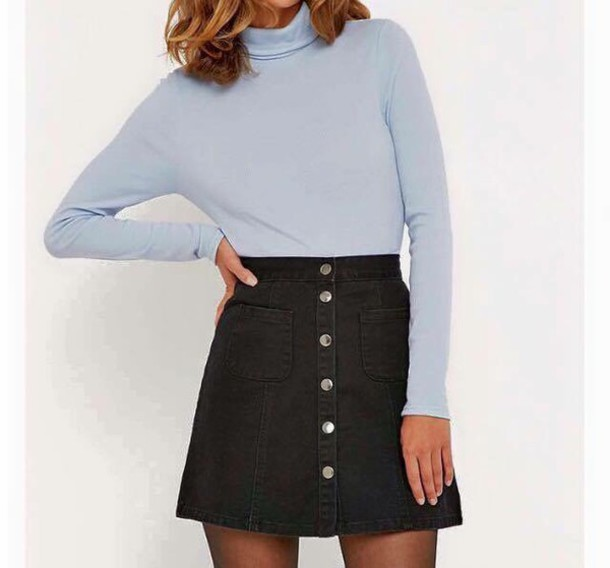 f0036723fc77 skirt, black, denim, denim skirt, button up denim skirt, blue shirt ...