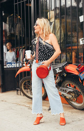 top,one shoulder  top,jeans,shoes,red mules,bag,red bag