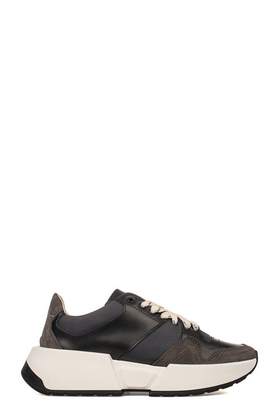 Mm6 Maison Margiela sneakers leather black black leather wedge sneakers shoes