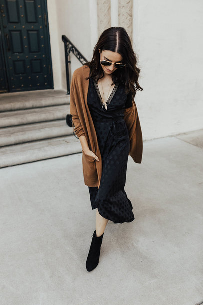 79e868eef7f dress tumblr midi dress black midi dress fall outfits fall dress cardigan  brown v neck boots