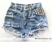 shorts,studded,denim,high waisted,blue shorts