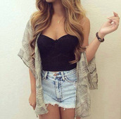 shorts,top,blouse,cardigan,bustier,black,kimono,denim,summer,coachella,shirt,cute,black crop top,black t-shirt,black top,tank top,crop tops,style,fashion,summer top,denim shorts,acid wash,High waisted shorts,high waisted denim shorts,blonde hair,light blue jeans,light blue,curly hair,boho chic,boho shirt,boho jewelry,black shirt