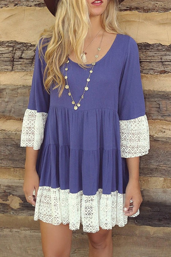 dress lace blue fashion style white casual summer girly cute blue dress boho dress blue and white summer dress