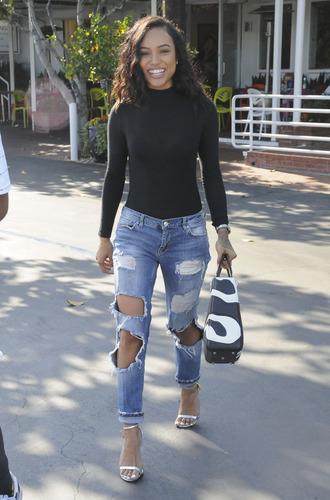 jeans top ripped jeans karrueche sandals bodysuit turtleneck purse