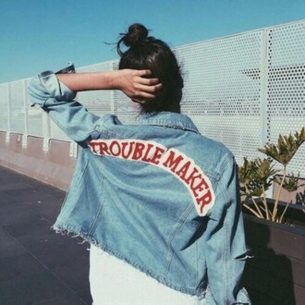 jacket denim jacket trouble maker