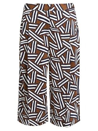 culottes print khaki pants