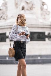 skirt,denim skirt,blogger,polka dots,blouse,black denim skirt,gucci,gucci belt,summer bag,crossbody bag,blogger style