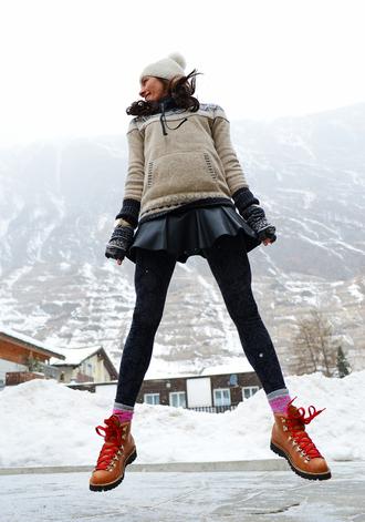nycpretty blogger leggings leather skirt skater skirt pom pom beanie hat sweater shoes skirt boots socks athleta