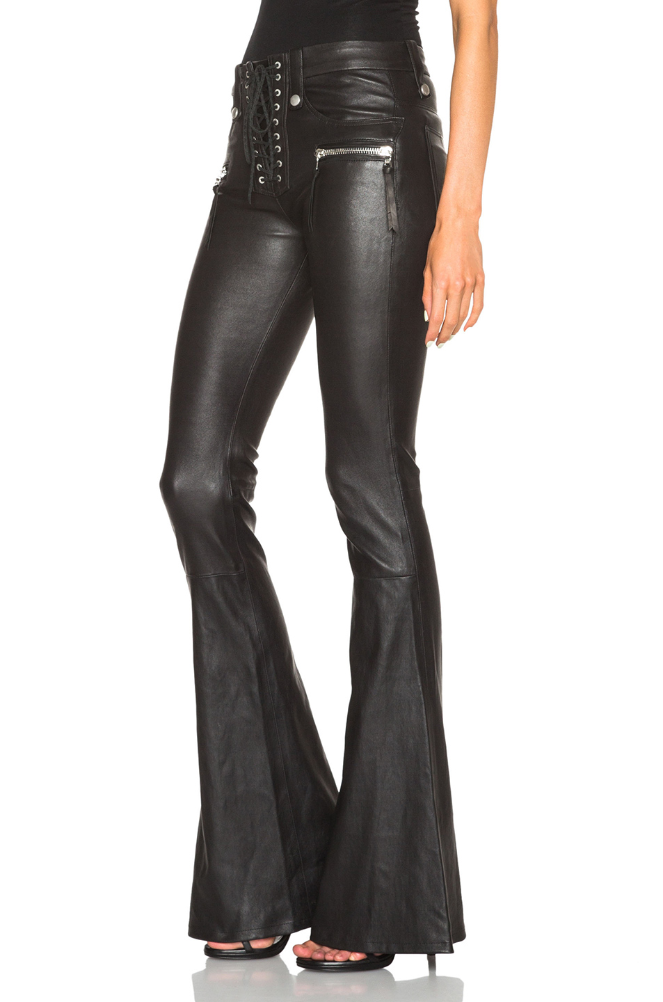 Unravel Lace Front Flare Leather Pants in Black | FWRD