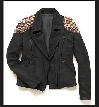 jacket leather jacket biker jacket embrodered ethnic ethnic pattern boho chic colorfull coat freepeople embellished