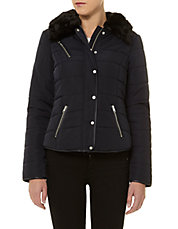 Women's   Trenchcoats    Monochrome Textured Fit & Flare Coat   Hudson's Bay