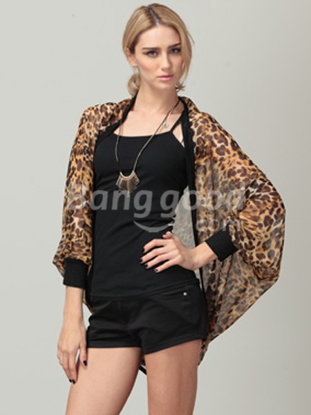 Loose Patchwork Batwing Sleeve Leopard Print Chiffon Shirt - CA$11.39