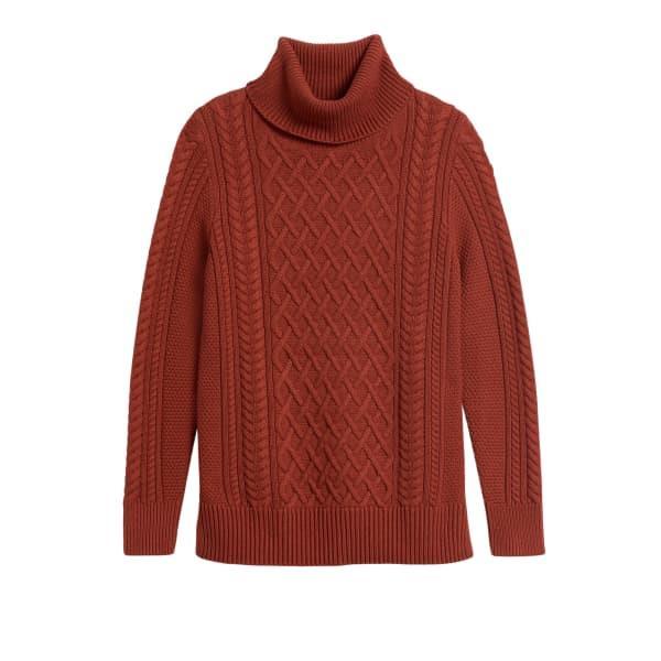 Banana Republic Women's Cable-Knit Sweater Tunic Red Rust Regular Size M