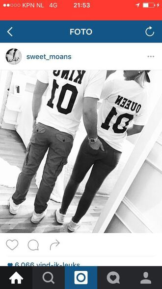 shirt white instagram matching couples king and queen t-shirt
