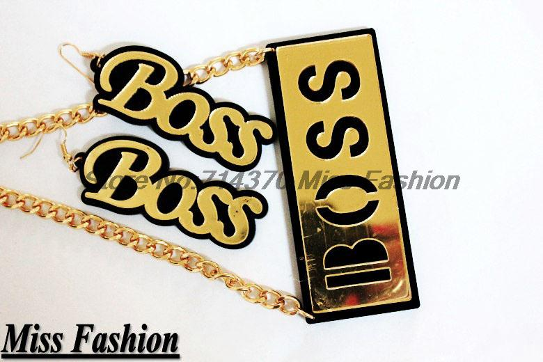 "New Arrival Hip Hop Gold and Black Acrylic ""Boss"" Necklace and Earrings Jewelry Set For Women-in Jewelry Sets from Jewelry on Aliexpress.com"