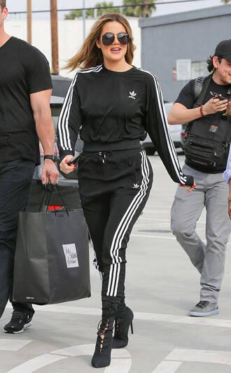 pants sweatshirt sweatpants khloe kardashian kardashians streetstyle adidas