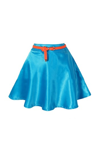 Candy Color High Waist Satin Skirt [FMCC0139]- US$16.99 - PersunMall.com