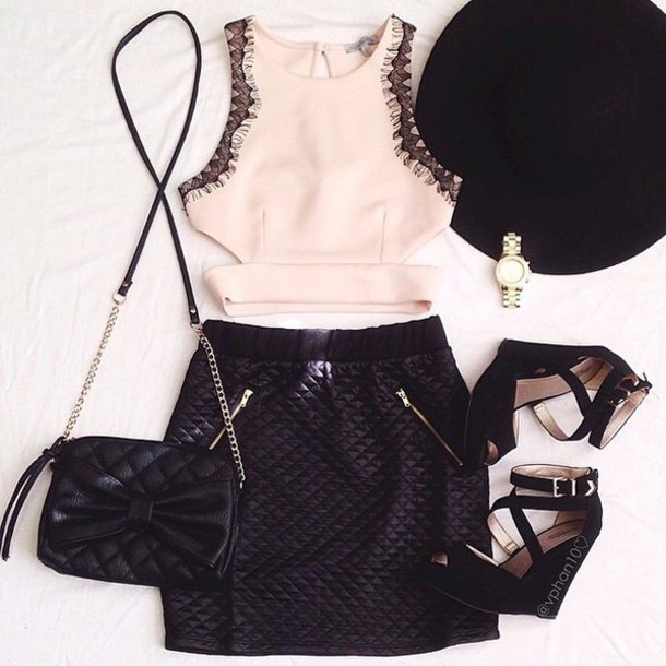 blouse lace top shoes black wedges strappy wedges bag skirt top