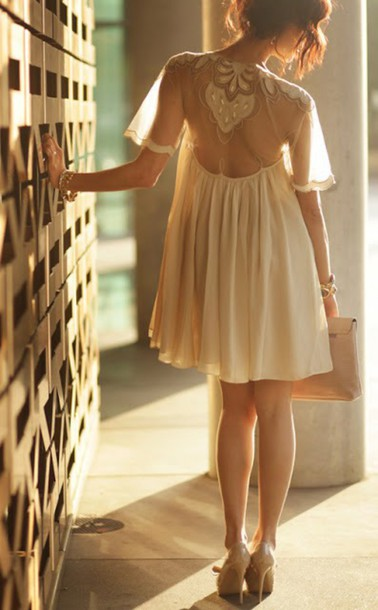 dress short dress cream lace dress sleeves hipster wedding