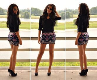 blouse spring tribal pattern skirt short skirt