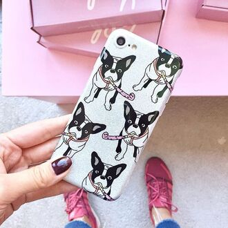 phone cover yeah bunny frenchie dog glitter cute