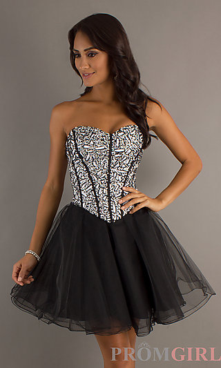 Strapless Ball Gown Sequin Corset Party Dresses- PromGirl