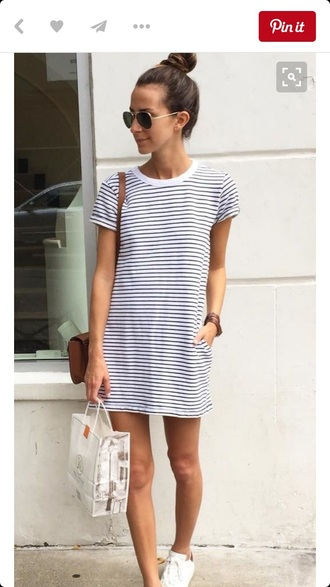 dress white stripes tshirt dress short sleeve summer tshirt dress sunglasses adidas hot outfit grunge shirt long chill striped dress striped shirt summer dress casual dress tumblr shirt women t shirts t-shirt girly girly wishlist boho boho chic boho dress cute cute dress cute outfits pretty travel black and white sneakers something navy t-shirt dress