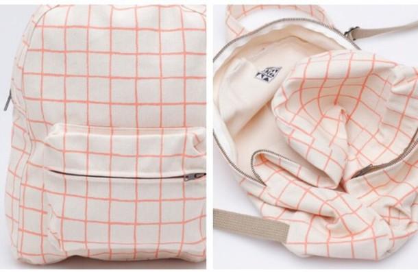 bag grid pastel canvas back pack backpack pastel checkered school bag