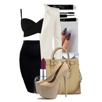 high heels purse nail polish style two-piece black make-up sexy sexy dress lipstick gorgeous outfit skirt heels mac lipstick chic muse pumps blazer bag