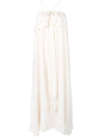 dress maxi dress maxi ruffle women nude cotton silk