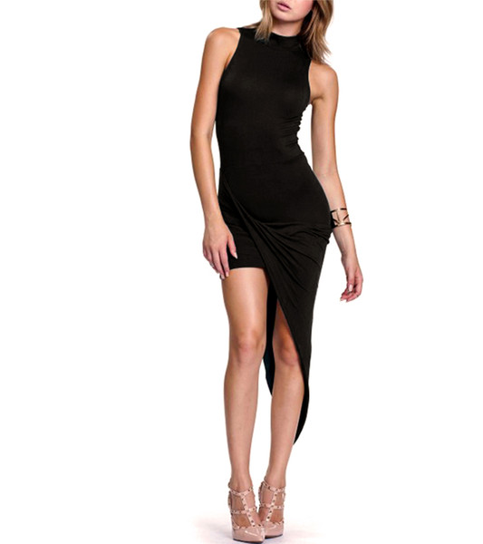 Black mock neck draped dress