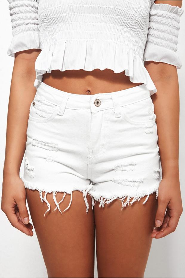Darcy White Distressed Denim Shorts