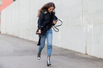shoes fashion week street style tumblr silver boots high heels boots blazer black blazer jeans denim blue jeans cropped jeans streetstyle silver ankle boots