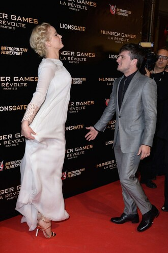 shoes sandals sandal heels high heel sandals jennifer lawrence josh hutcherson peeta the hunger games