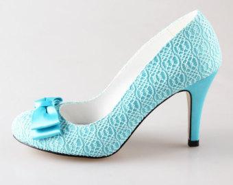 aqua lace bow shoes wedding party shoes - peep toe open toe heels ...