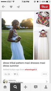 dress,white,embellished,tribal print dress