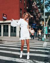 dress,mini dress,white boots,ruffle dress,one shoulder,summer dress
