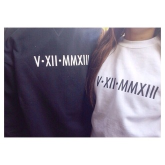 sweater black black and white white couple sweaters date outfit
