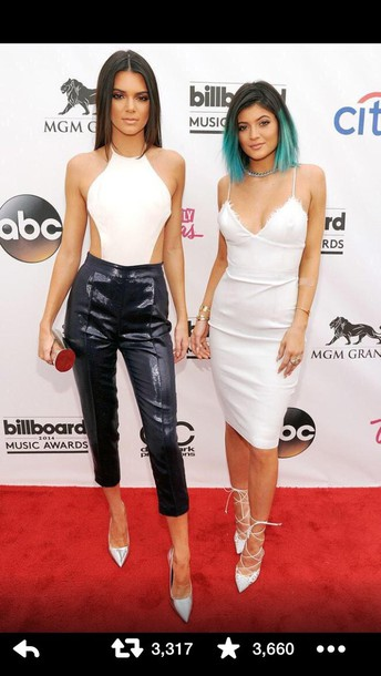 white dress shiny cropped pants kendall and kylie jenner dress top