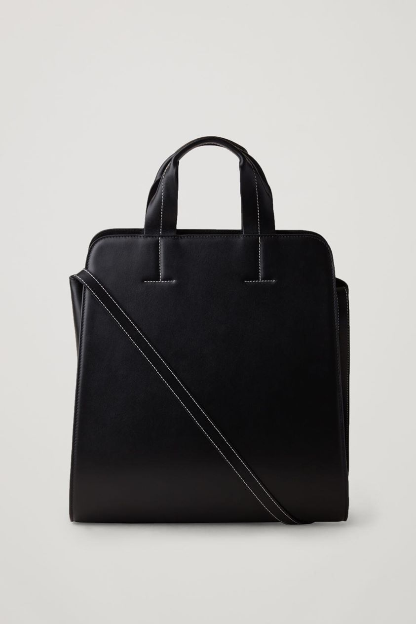 LEATHER SHOPPER WITH DETACHABLE STRAP