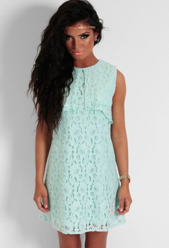green overlay shift dress