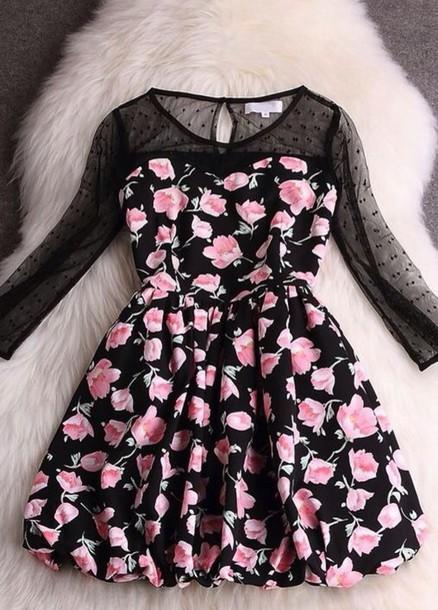 dress cute cute dress cool black pink girly lace dress lace short dress floral dress
