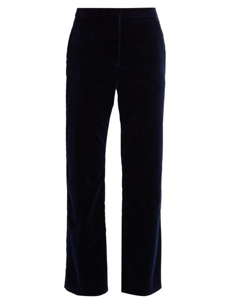 Altuzarra flare cropped velvet navy pants