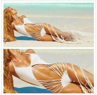 swimwear crochet crochet bikini white striped bikini monokini one piece swimsuit bikini