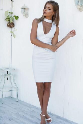 dress white dress choker dress white choker dress white heels v neck high neck v cut