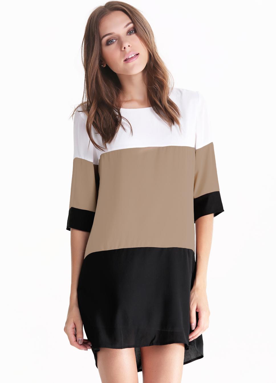 White Coffee Black Color Block Dress - Sheinside.com
